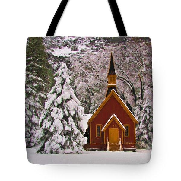 Winter Yosemite Chapel Tote Bag by Heidi Smith