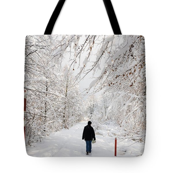 Winterly forest with snow covered trees Tote Bag by Matthias Hauser