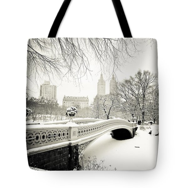 Winter's Touch - Bow Bridge - Central Park - New York City Tote Bag by Vivienne Gucwa