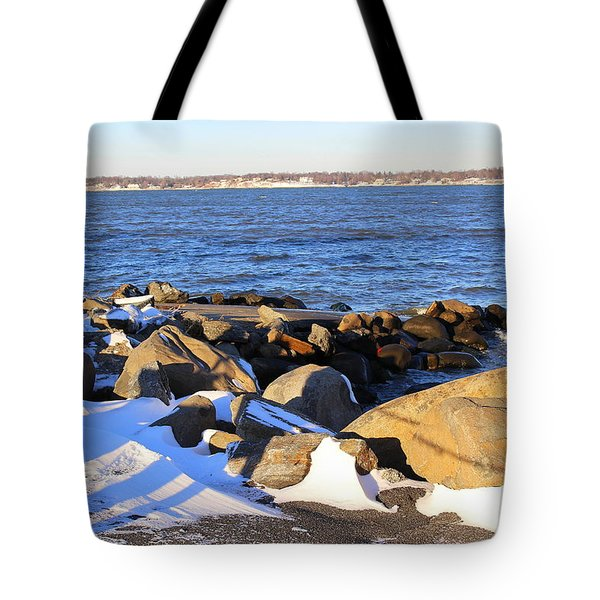 Wintry Day At The Bay Tote Bag by Dora Sofia Caputo Photographic Art and Design