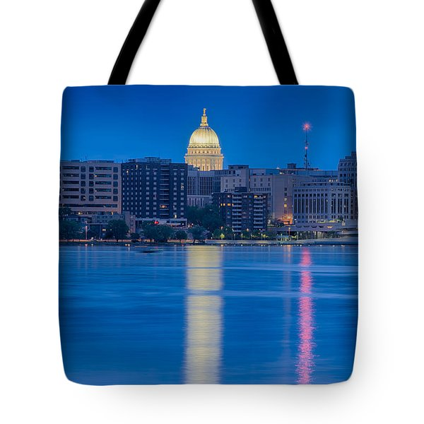 Wisconsin Capitol Reflection Tote Bag by Sebastian Musial