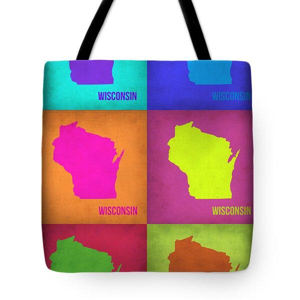Wisconsin Pop Art Map 2 Tote Bag by Naxart Studio