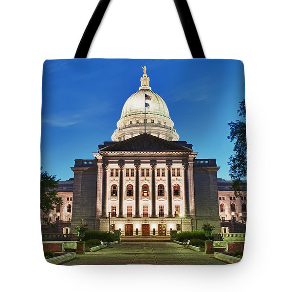 Wisconsin State Capitol Building At Night Tote Bag by Sebastian Musial