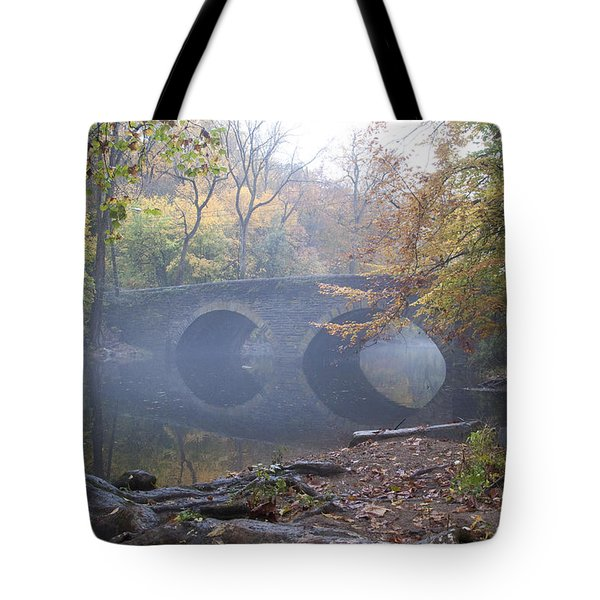 Wissahickon Creek And Bells Mill Road Bridge Tote Bag by Bill Cannon