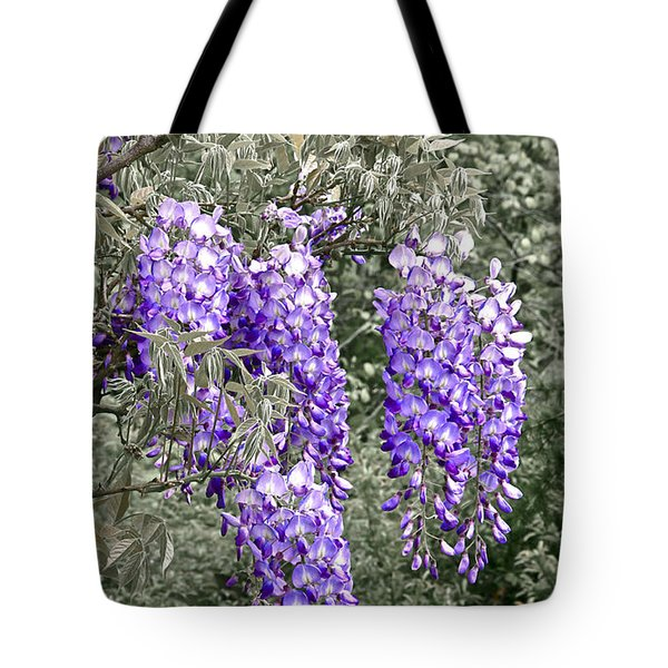 Wisteria Blossom Clusters Abstract Tote Bag by Byron Varvarigos
