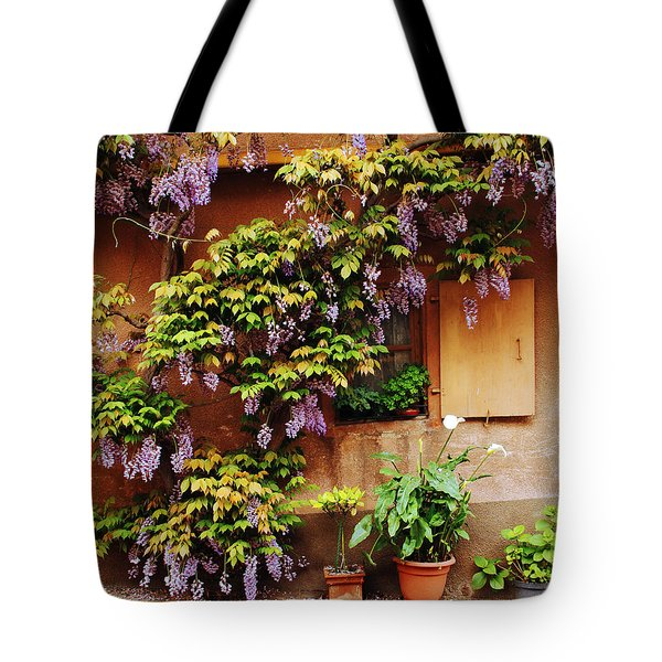 Wisteria on Home in Zellenberg 4 Tote Bag by Greg Matchick