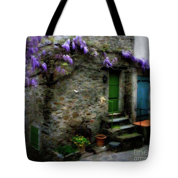 Wisteria On Stone House Tote Bag by Lainie Wrightson