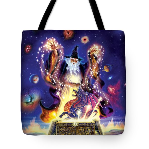 Wizard Dragon Spell Tote Bag by Andrew Farley