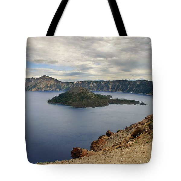 Wizard Island - Crater Lake Oregon Tote Bag by Christine Till