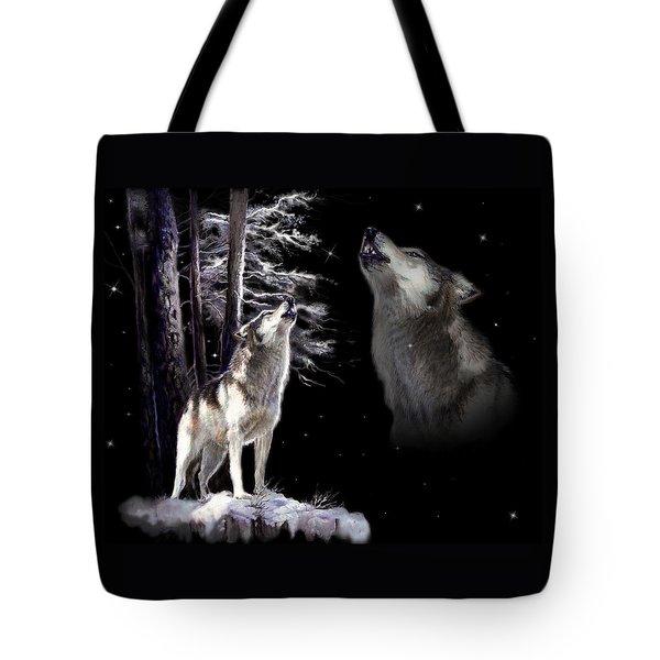 Wolf  howling memory Tote Bag by Gina Femrite