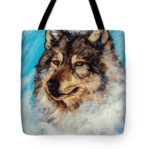 Wolf In A Snow Storm Tote Bag by  Bob and Nadine Johnston
