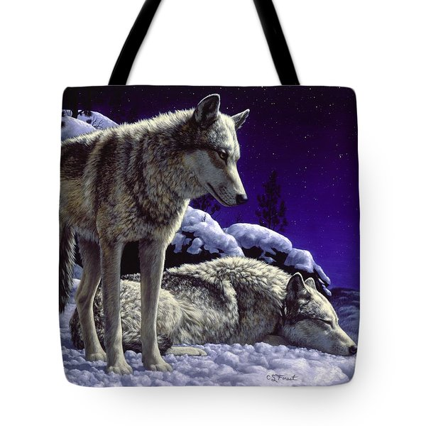 Wolf Painting - Night Watch Tote Bag by Crista Forest
