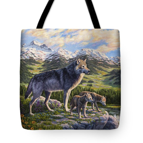 Wolf Painting - Passing It On Tote Bag by Crista Forest