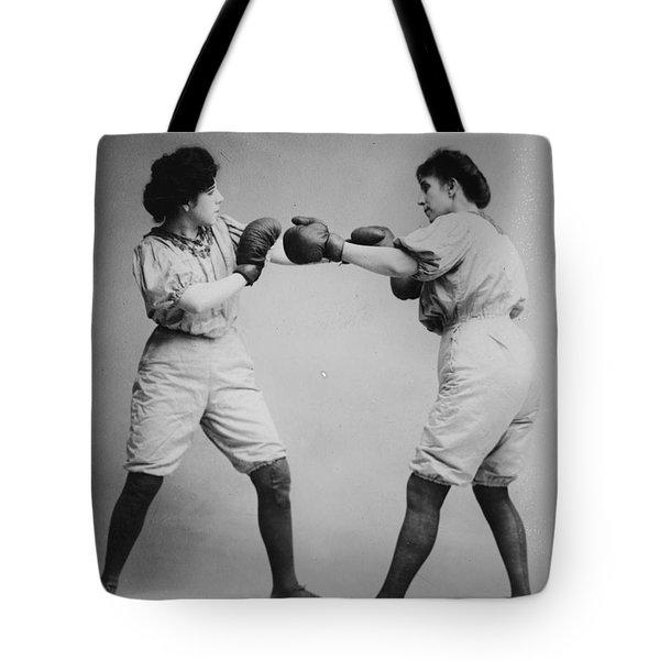 Woman Boxing Tote Bag by Digital Reproductions