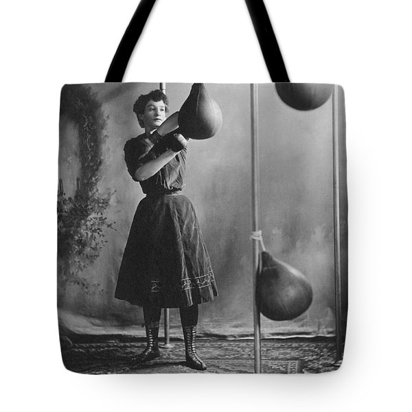 Woman Boxing Workout Tote Bag by Underwood Archives