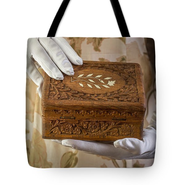 Woman In A Dress Opening A Ornate Box Tote Bag by Edward Fielding