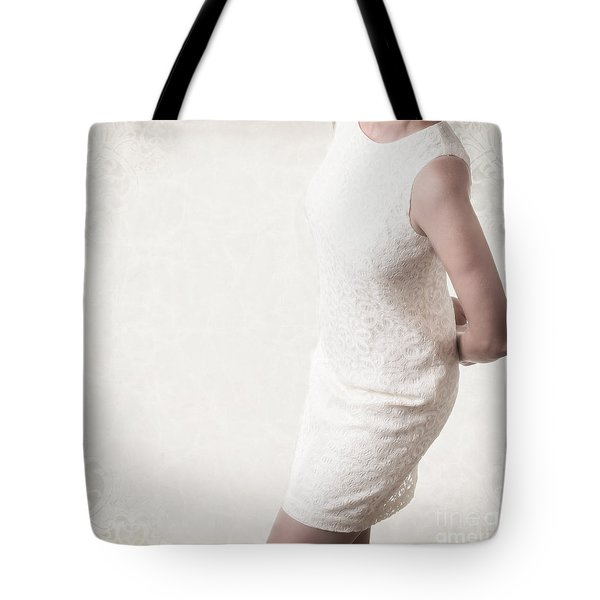 Woman In Lace Dress Tote Bag by Edward Fielding