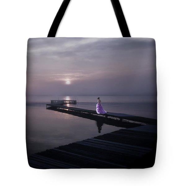 Woman On Footbridge Tote Bag by Joana Kruse