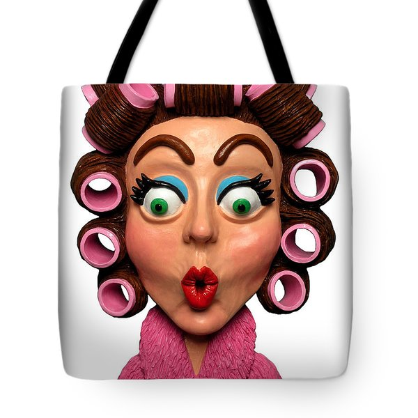 Woman Wearing Curlers Tote Bag by Amy Vangsgard