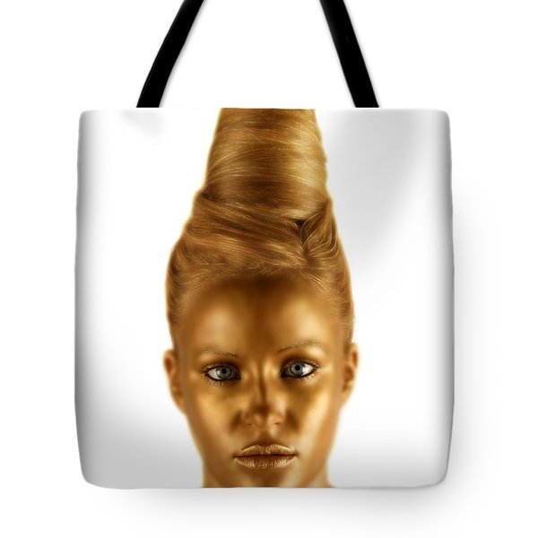Woman With A Golden Face Tote Bag by Darren Greenwood
