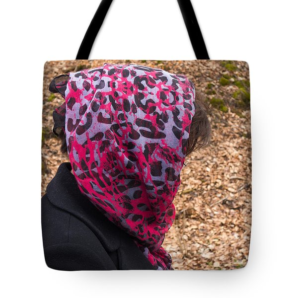 Woman With Headscarf In The Forest - Quirky And Surreal Tote Bag by Matthias Hauser