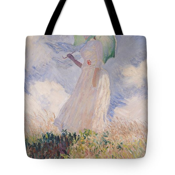 Woman With Parasol Turned To The Left Tote Bag by Claude Monet