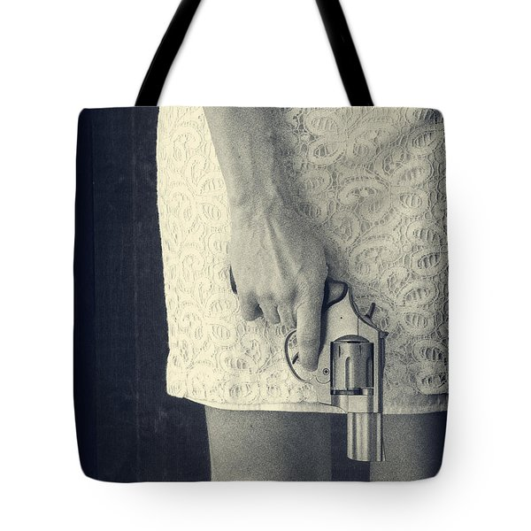 Woman with Revolver 60 x 45 custom Tote Bag by Edward Fielding