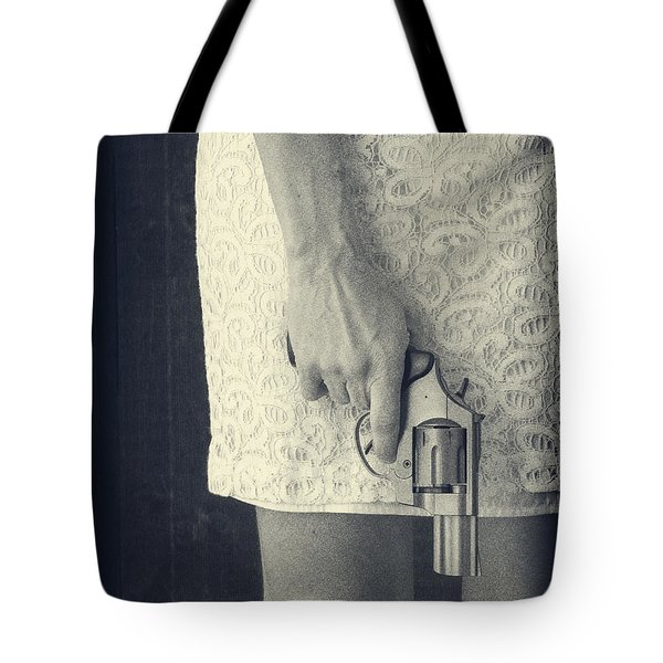 Woman With Revolver Tote Bag by Edward Fielding