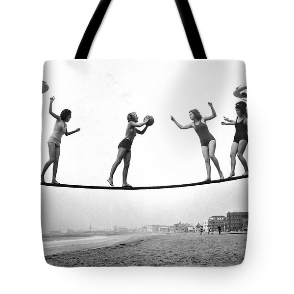 Women Play Beach Basketball Tote Bag by Underwood Archives