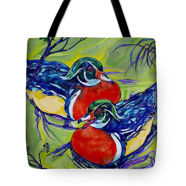 Wood Duck 2 Tote Bag by Derrick Higgins