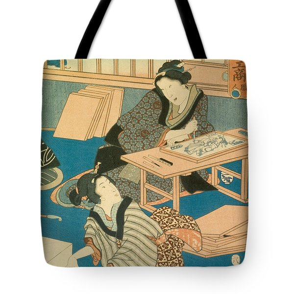 Woodblock Production Tote Bag by Japanese School
