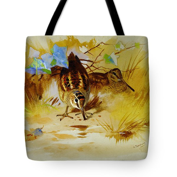 Woodcock In A Sandy Hollow Tote Bag by Celestial Images