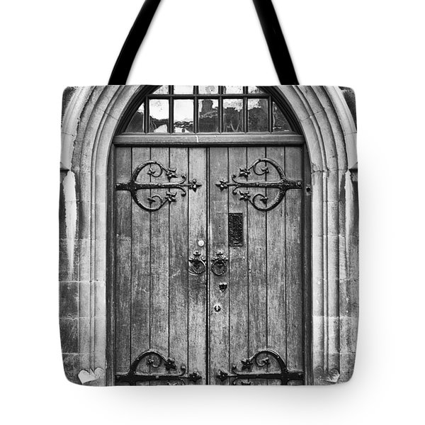 Wooden Door At Tower Hill Bw Tote Bag by Christi Kraft