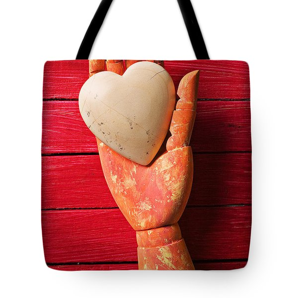 Wooden Hand With White Heart Tote Bag by Garry Gay