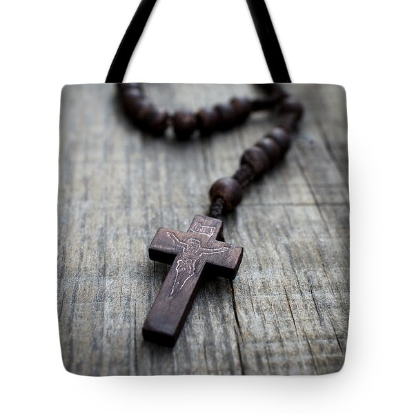 Wooden Rosary Tote Bag by Aged Pixel