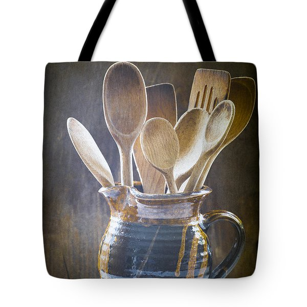 Wooden Spoons Tote Bag by Jan Bickerton
