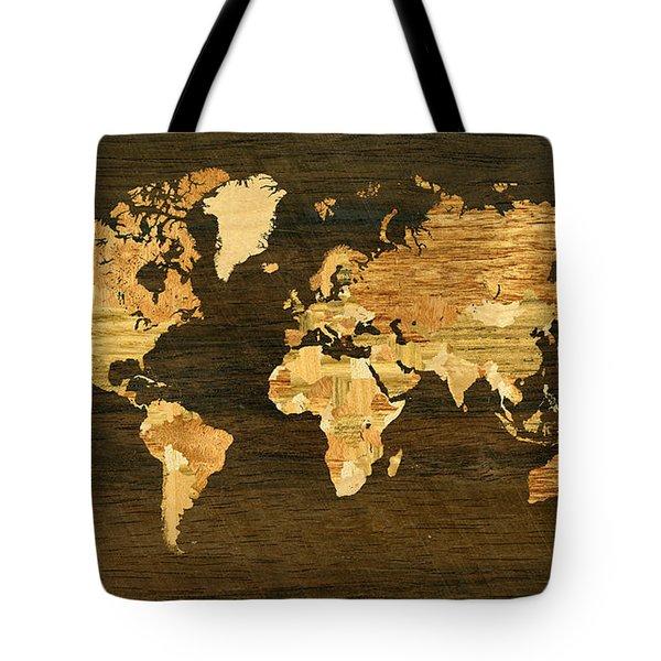 Wooden World Map Tote Bag by Hakon Soreide