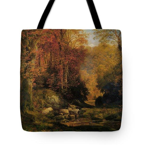 Woodland Interior Tote Bag by Thomas Moran