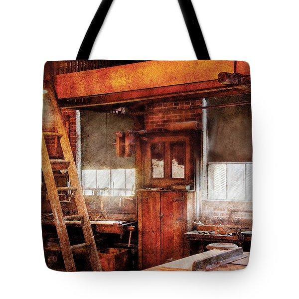 Woodworker - Old Workshop Tote Bag by Mike Savad