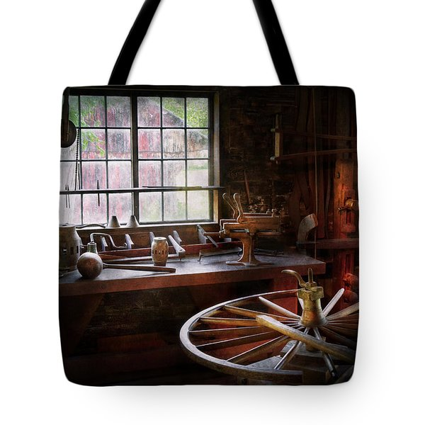 Woodworker - The wheelwright shop  Tote Bag by Mike Savad