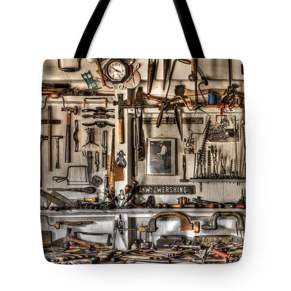 Woodworking Tools Tote Bag by Debra and Dave Vanderlaan
