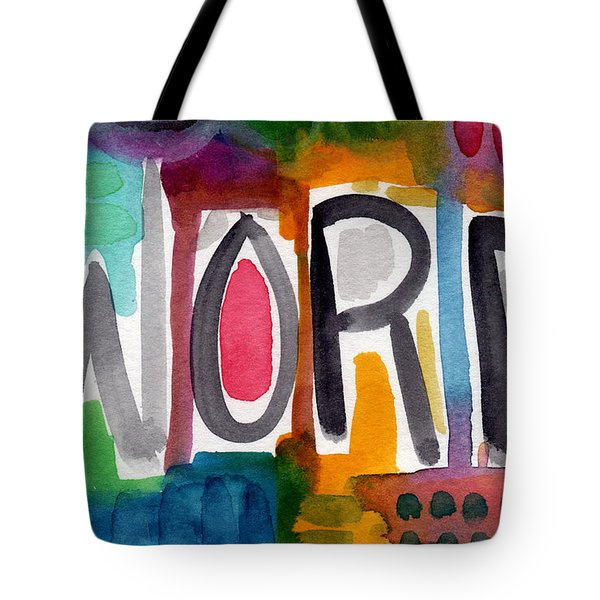 Word- Colorful Abstract Pop Art Tote Bag by Linda Woods