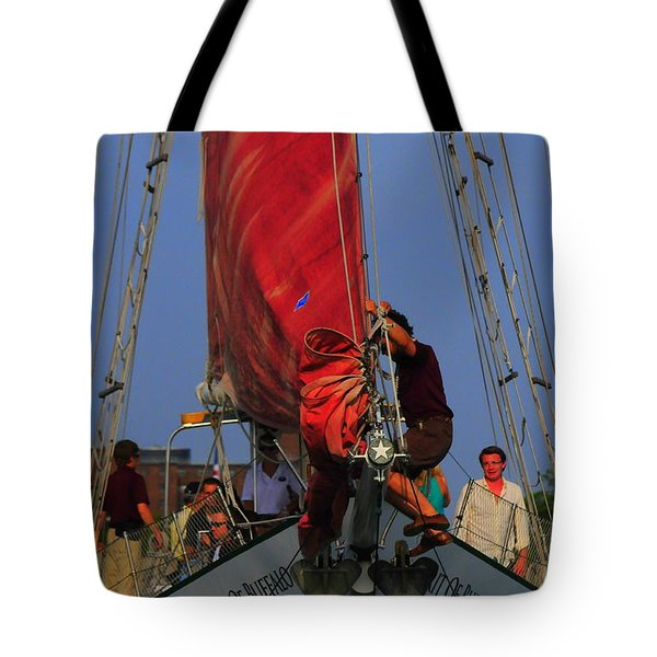 Working The Sails Tote Bag by Kathleen Struckle