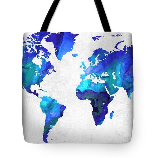 World Map 17 - Blue Art By Sharon Cummings Tote Bag by Sharon Cummings