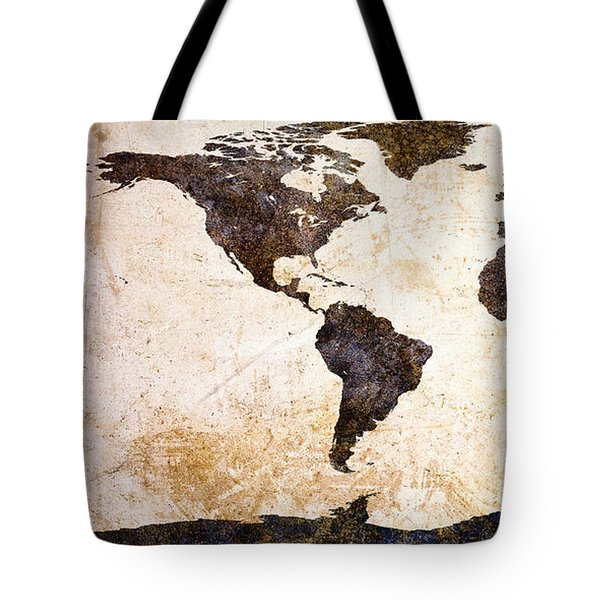 World Map Abstract Tote Bag by Bob Orsillo