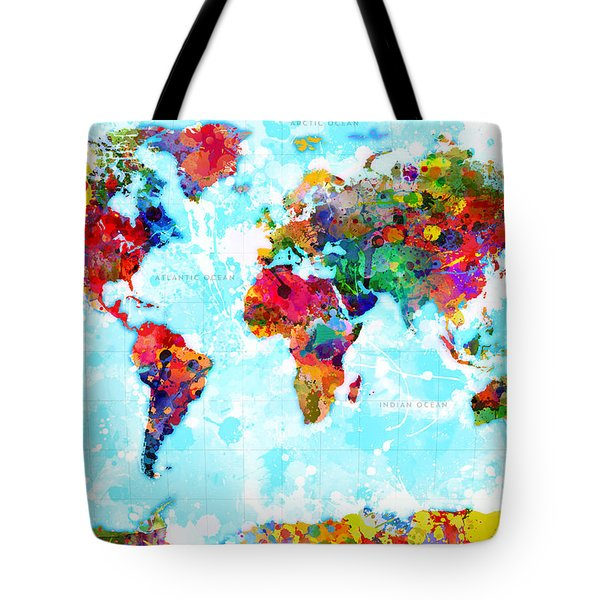 World Map Splattered Tote Bag by Gary Grayson