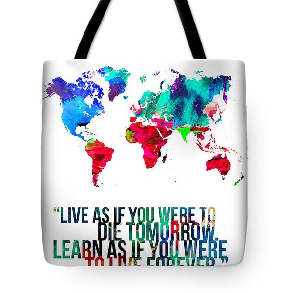 World Map With A Quote Tote Bag by Naxart Studio
