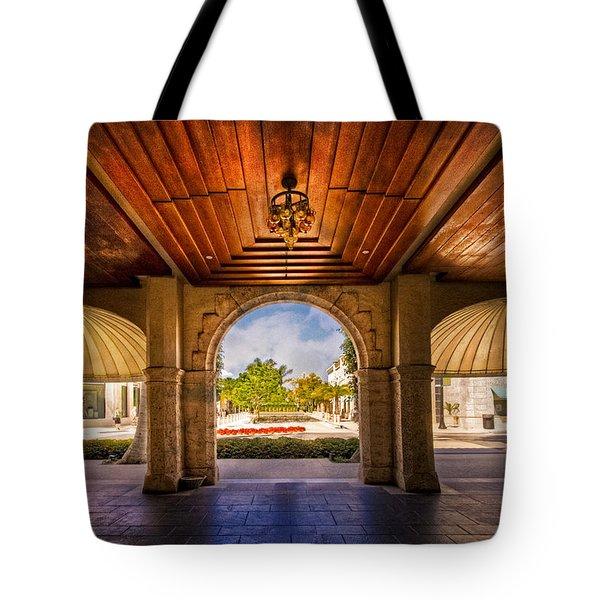 Worth Avenue Courtyard Tote Bag by Debra and Dave Vanderlaan