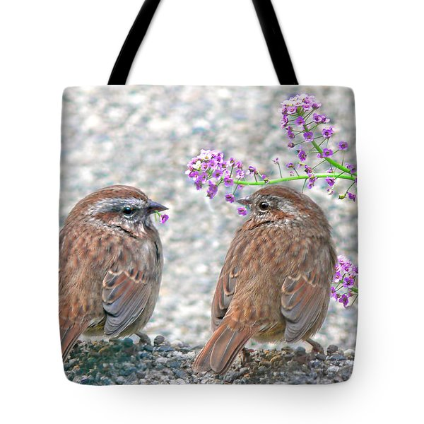 Wren Bird Sweethearts Tote Bag by Jennie Marie Schell