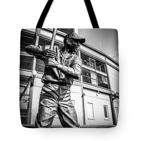 Wrigley Field Ernie Banks Statue in Black and White Tote Bag by Paul Velgos
